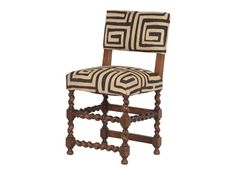 """VINTAGE BARLEY TWIST LEG CHAIR /  $1395.00  •18""""W x 16""""D x 34.75""""H •reupholstered in african kuba cloth and natural burlap •early 20th century •belgium"""
