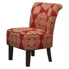 Threshold Rounded Back Chair Red Gold Medallion