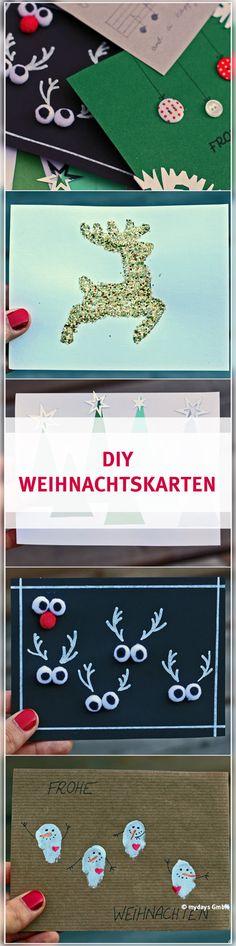 DIY Weihnachtskarten - Selbstgemachte Weihnachtskarten kommen doch bei Deinen Liebsten sicherlich umso besser an. Wir haben ein paar verschiedene Varianten im mydays Magazin für Dich zusammengestellt, die Du ganz einfach nachbasteln kannst. Viel Spaß dabei wünscht mydays. Diy Weihnachten, Christmas Crafts, Crafting, Handmade Christmas Cards, Diy Xmas Gifts, Nice Asses, Couple, Simple, Crafts To Make