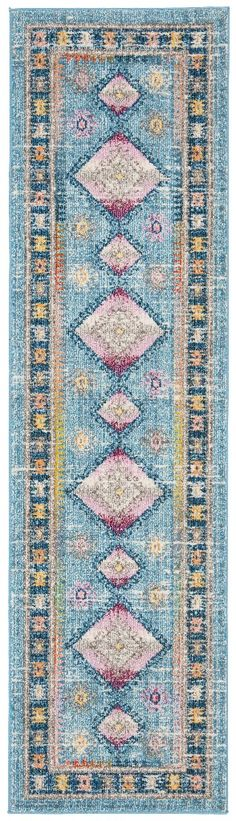 "Madison 300 Collection 2'-2"" X 8' Rug in Light Blue And Fuchsia - Safavieh MAD305M-28"