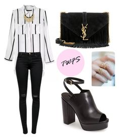 """""""Stylish in stripes with the TheWildFlowerShop"""" by tania-alves ❤ liked on Polyvore featuring J Brand, Topshop and Yves Saint Laurent"""
