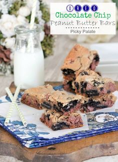 Oreo Chocolate Chip Peanut Butter Bars via Picky Palate