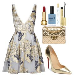 """""""Gold Holiday"""" by mpvargas ❤ liked on Polyvore featuring Notte by Marchesa, Christian Louboutin, Chanel, Lauren B. Beauty, Marc Jacobs, dress, holidaystyle, HolidayParty and 5280PoshAve"""