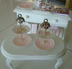 Set of 2 Handmade 2 Tier DESSERT STANDS High Tea Pastry Display - Dollhouse Miniature 1/12 th Scale. $30.00, via Etsy.
