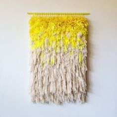 MADE TO ORDER Woven wall hanging / Furry lemon dreams by jujujust