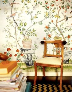 'Jardinieres Citrus Trees' design in standard design colours on Natural Mica metallic silk. | de Gournay