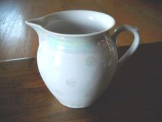 #Vintage #RKG #MadeInCechoslovakia #PolkaDot #MilkGlass #ClownGlass #GlassPitcher #Pitcher 4C, EUC!