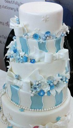 Winter wonderland themed wonky wedding cake - by dazzleliciouscakes @ CakesDecor.com - cake decorating website