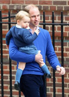 We can file Prince George's sweet hospital arrival with Prince William under Things We'll Never Get Over — too cute! The father-son pair sported matching blue sweaters for the big day when George met his new sister, Princess Charlotte.