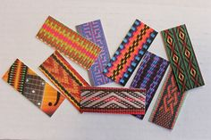 MOO Mini cards are great for showcasing your woven bands. I just ordered 27 different designs on the front, same text on the back. Inkle Weaving Patterns, Loom Weaving, Loom Patterns, Cotton Crochet, Thread Crochet, Finger Weaving, Types Of Weaving, Inkle Loom, Tablet Weaving