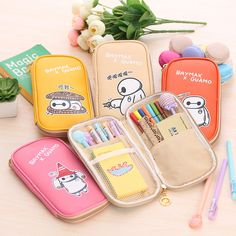 2016 New Big Hero 6 Bymax Pencil Box Stationery Pencil Case Large Capacity Students Lovely Pencil Bag Pencil Pouch