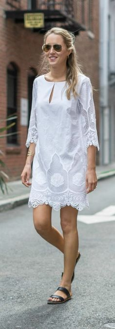 white embroidered lace tunic shift dress, navy two strap slide sandals {ann taylor, bridal shower outfit}
