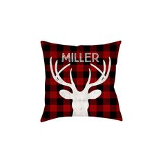 Holiday Decor, Holiday Pillow Cover, Christmas Pillow Cover, Cabin, Buffalo Check, Deer, Personalized, Check, Lumberjack, Farmhouse Style by PopsyPix on Etsy https://www.etsy.com/listing/486040499/holiday-decor-holiday-pillow-cover
