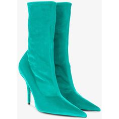 Balenciaga Blue Velvet stiletto knife boots (3.590 RON) ❤ liked on Polyvore featuring shoes, boots, blue, sock boots, velvet boots, stiletto boots, balenciaga boots and pointed toe shoes