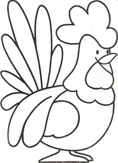 Preschool Farm Animal Coloring Pages A Rooster Make your world more colorful with free printable coloring pages from italks. Our free coloring pages for adults and kids. Applique Patterns, Applique Quilts, Applique Designs, Quilt Patterns, Embroidery Designs, Farm Animal Coloring Pages, Colouring Pages, Coloring Books, Chicken Coloring Pages