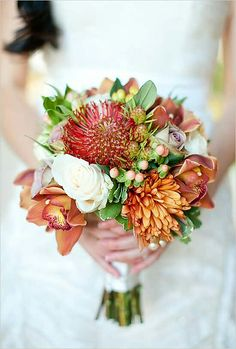 "White Roses, ""Amnesia"" Roses, Red Pin Cushion Protea, Orange Chrysanthemums, Orange Cymbidium Orchids, Hypericum Berries, Green Seeded Eucalyptus + Green Foliage = Lovely Fall/Autumn Bridal Bouquet••••"