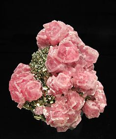 Rhodochrosite with Pyrite and Sphalerite.***this doesn't remind me of food! It reminds  me of roses.