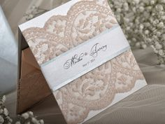 Uitnodiging Idees  :  Peach and Silver Lace  Wedding Invitation Pocket by DecorisWedding, $5.40