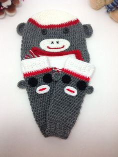 Crochet Sock Monkey Hat and Leg Warmer Set 100 by AliceCozyCrochet, $40.00
