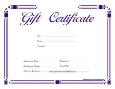 purple certificate template - simple balloons birthday gift certificate template