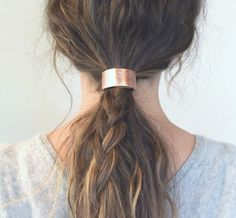 Leather Hair Cuff Ponytail Holder in Rose Gold size by Precocious