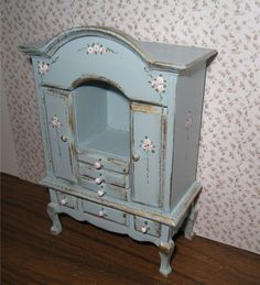 Duck egg blue chest hand  painted with rose by Insomesmallwayminis,