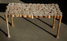 table made from baseball bats