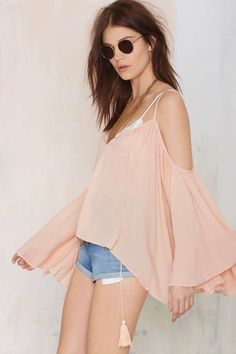 Peach peasant blouse