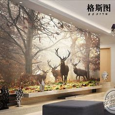 3D Mural Wallpaper Sitting Room Bedroom Forest Milu Deer Background Wall  BJ603 Part 3