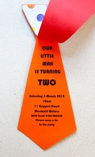 Tie Invitation for a special little 2 year old