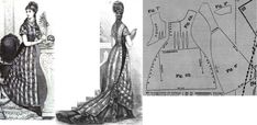 Cornelia 1876.: Evening toilette with oriental overdress. Undergarment of velvet or silk. The oriental overdress is of atlas striped silk gaze. Fig. 6. front part, fig. 7. underlaping bodice part, fig. 8. back part, fig. 9. short sleeve in half.