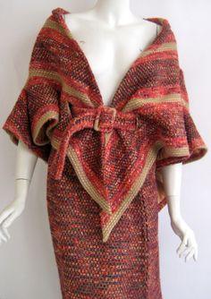 1960s Jean Barthet wool tweed caplet with new look long skirt