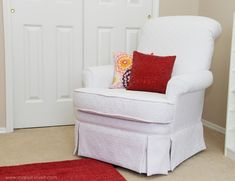 Do-It-Yourself, Furniture DIY: Reupholster Your Nursery Chair Furniture Makeover, Diy Furniture, Chair Makeover, Whitewashing Furniture, Repainting Furniture, Barbie Furniture, Repurposed Furniture, Furniture Projects, Furniture Plans