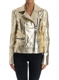Karl Lagerfeld Lamb Leather Jacket Gold Mall, Gold Fashion, Rick Owens, Karl Lagerfeld, Leather Jacket, Michael Kors, Boutique, Events, Type