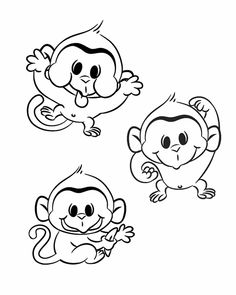 Free printable monkey coloring page cj 1st birthday Pinterest