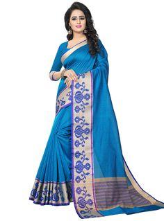 Sky Blue Banarasi Silk Festival Wear Saree 120398