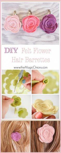 awesome DIY Felt Flower Hair Barrettes for Spring - The Magic Onions Felt Flowers, Diy Flowers, Flowers In Hair, Fabric Flowers, Felt Flower Diy, Felt Hair Clips, Flower Hair Clips, Hair Barrettes, Hairbows