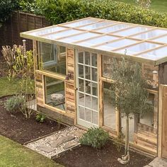 Diy Greenhouse Plans, Outdoor Greenhouse, Backyard Greenhouse, Backyard Landscaping, Outdoor Gardens, Old Window Greenhouse, Homemade Greenhouse, Mini Greenhouse, Greenhouse Shed Combo