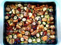 Crispy potatoes, zucchini, eggplant, onion, tomato and bell peppers, roasted in olive oil. Eat it with feta cheese and fresh bread.