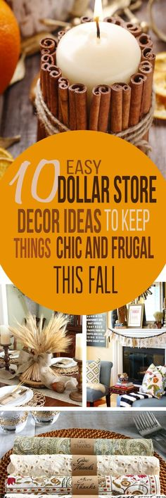 These 10 Dollar Store Thanksgiving DIY Ideas are THE BEST! I'm so glad I found these GREAT Dollar Store decor ideas! Now I have some great ways to decorate my home this Thanksgiving! Definitely pinning!