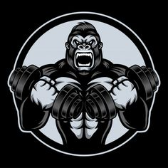 Storng gorilla with barble Premium Vector Crossfit Logo, Gym Logo, Shirt Logo Design, Qhd Wallpaper, Gorilla Tattoo, Fish Artwork, Free Characters, Flat Design Icons, Bodybuilding Motivation