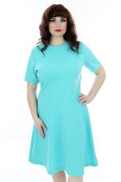 Blocked Mod Mini Dress Vintage 60s Aqua Blue A-line Circle Skirt Sixties Dolly 1960s 1970s 70s Mad Men Large XLarge Plus Size. $48.00, via Etsy.