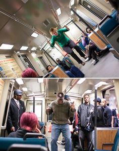 Swing On The BART:  Riding the train got a lot more fun when swings were surreptitiously installed on San Francisco's BART public transit system. Tied to the handrails, the swings invited riders to play and laugh, and photos were taken to document the event.