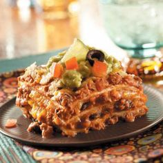 Favorite Mexican Lasagna Recipe from Taste of Home -- shared by Tina Newhauser of Peterborough, New Hampshire