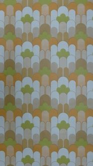 papier peint vintage geometrique orange vert