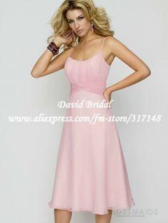 Free Shipping DB058 Spaghetti Strap Chiffon Pink Bridesmaid Dresses 2012