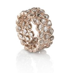 Rough Cut Diamond Ring with light chocolate diamonds in rose gold by Belloria