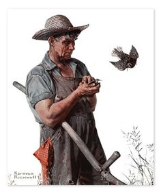 Rockwell Farmer and the Bird Replica Gallery-Wrapped Canvas #zulily #zulilyfinds