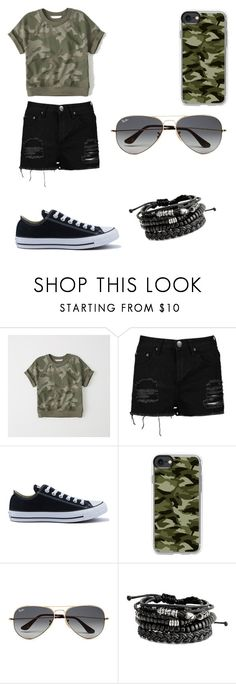 """""""army outfits"""" by oce-saurin ❤ liked on Polyvore featuring Abercrombie & Fitch, Boohoo, Converse, Casetify and Ray-Ban"""
