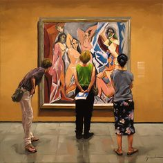 """Karin Jurick ~ """"Bare Market"""" ~ Women admiring Pablo Picasso's masterpiece 'Les Demoiselles D'Avignon' in the Museum of Modern Art, New York City. Painting People, Figure Painting, Art And Illustration, Fine Art Gallery, Artist Art, Beautiful Paintings, Figurative Art, Lovers Art, Les Oeuvres"""